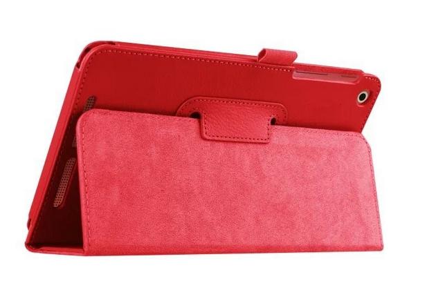 Чехол для Acer One 8 B1-820/821/B1-830 красный кожаный