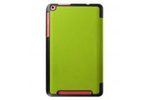 """Фирменный умный чехол-книжка самый тонкий в мире для Acer One 8 B1-820/821/B1-830  """"Il Sottile"""" зеленый кожаный"""