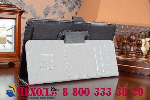 """Фирменный чехол бизнес класса для Acer Iconia Tab 8 A1-840FHD с визитницей и держателем для руки черный натуральная кожа """"Prestige"""" Италия"""