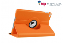 Чехол для планшета  iPad  mini 4 поворотный роторный оборотный оранжевый кожаный