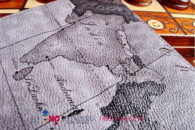 "Чехол-футляр для Айпад Эйр 2 ""тематика карта мира"" кожаный серый"