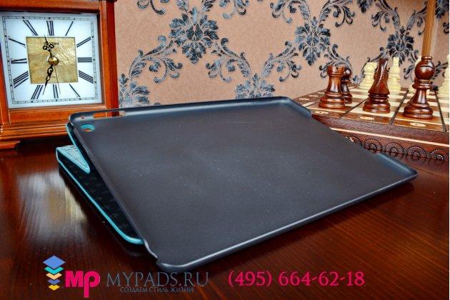 Фирменный чехол для iPad Air 2 MH1C2/G2/172/182/MGCX2/MGHY2/MGLW2/12/MGWM2/MGKM2/MGTY2/MGTX2 лаковая кожа крокодила бирюзовый