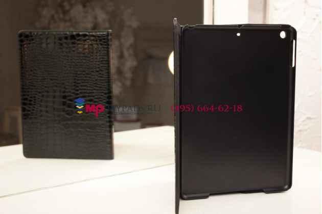 Фирменный чехол с мульти-подставкой для iPad Air 1 кожа крокодила брутальный черный