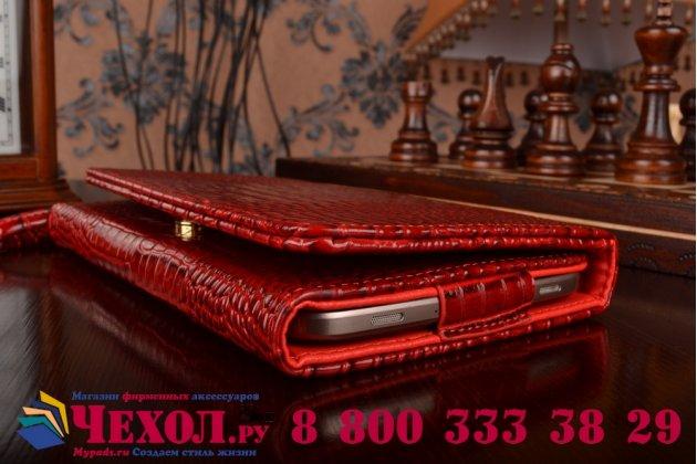 Фирменный роскошный эксклюзивный чехол-клатч/портмоне/сумочка/кошелек из лаковой кожи крокодила для планшетов Acer Iconia One 8 B1-810/B1-811. Только в нашем магазине. Количество ограничено.