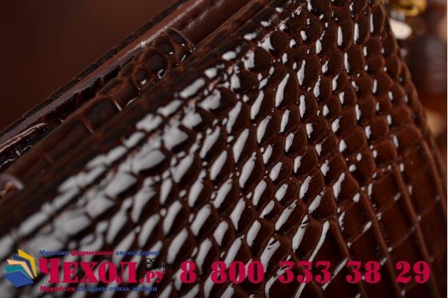 Фирменный роскошный эксклюзивный чехол-клатч/портмоне/сумочка/кошелек из лаковой кожи крокодила для планшетов Iconia Tab B1-A71. Только в нашем магазине. Количество ограничено.