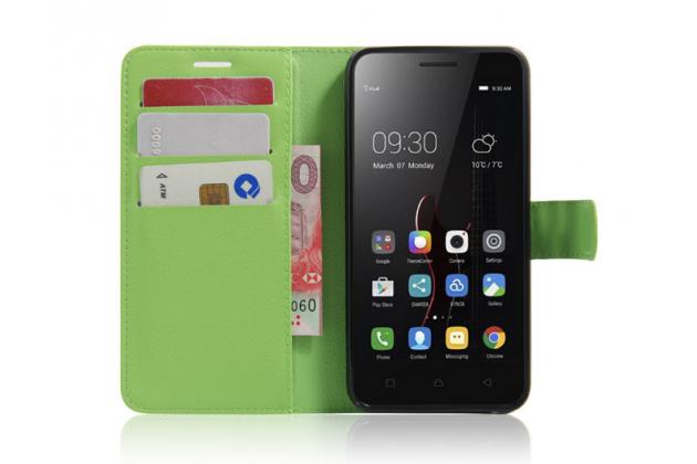 """Фирменный чехол-книжка из качественной импортной кожи с мульти-подставкой застёжкой и визитницей для Lenovo Vibe C (A2020 / A2020a40 Dual Sim ) 5.0"""" зеленый"""