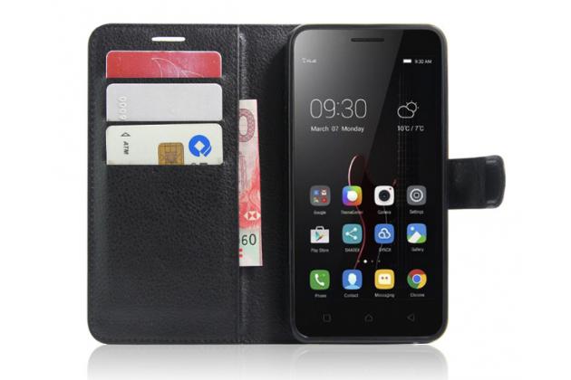 """Фирменный чехол-книжка из качественной импортной кожи с мульти-подставкой застёжкой и визитницей для Lenovo Vibe C (A2020 / A2020a40 Dual Sim ) 5.0"""" черный"""
