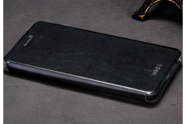 """Фирменный чехол-книжка  для Oppo Neo 7"""" из качественной водоотталкивающей импортной кожи на жёсткой металлической основе черного цвета"""