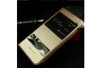 """Фирменный чехол-книжка для Samsung Galaxy A7 2016 / A7100 / A710F / A7+  5.5""""   золотой кожаный с окошком для входящих вызовов и свайпом водоотталкивающий"""