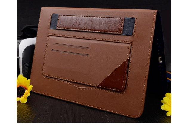 Фирменный премиальный чехол бизнес класса для iPad Air 2 с визитницей из качественной импортной кожи красный