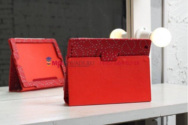 Фирменный чехол-обложка для iPad2/3/4 со стразами красный кожаный