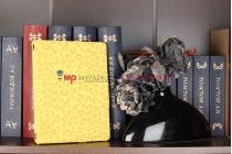 Фирменный чехол-обложка для iPad 2/3/4 леопардовый желтый кожаный