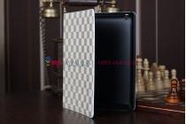 Фирменный чехол-обложка для iPad 2/3/4 new в клетку белый кожаный
